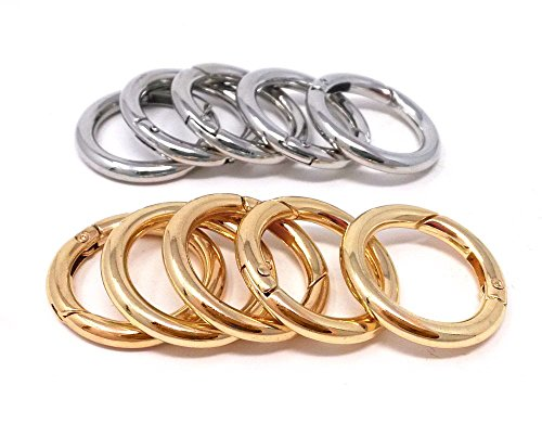 Honbay 10pcs Gold and Silver Round Open Ring Snap Clip O Ring Trigger Spring Keyring Buckle