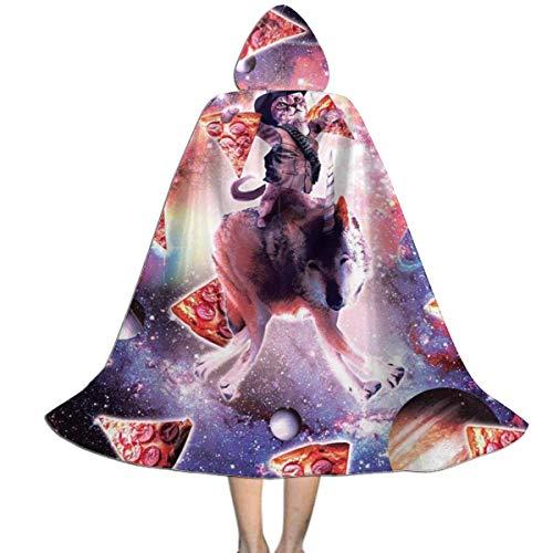 con Capucha Cowboy Pizza Space Cat Montando Lobos Capa Halloween Talla Unica Disfraz De Fiesta Impresin HD Navidad Fiesta Disfraces para Nios Mujer 150X40Cm