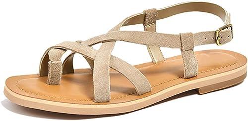 Sandalias zapatos Planos Gamuza Cuero señoras Correas Casuales de Moda Simple zapatos Romanos blancos