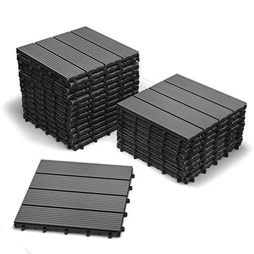 SAM Terrassenfliesen WPC Kunststoff, 22er Spar Set 2m², anthrazit-grau, Bodenbelag mit Drainage, Garten Klick-Fliese