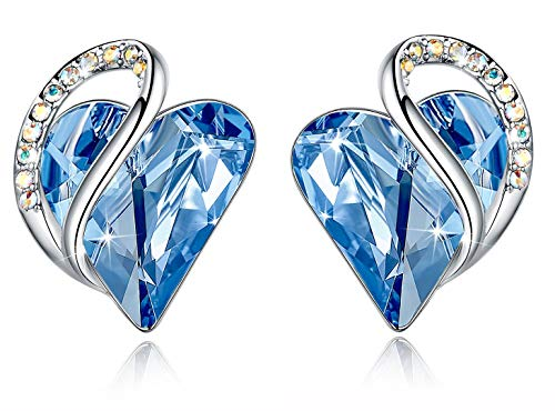 Leafael Infinity Love Heart Stud Earrings with Light Blue Birthstone Crystal for March and December, Women's Gifts, Silver-tone