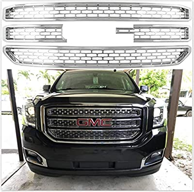 Meyffon Grill Inserts Chrome Grille Overlay for 2015-2020 GMC Yukon XL Snap On Grill Cover 4 Piece