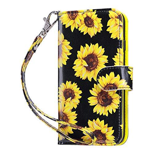 ULAK iPhone SE 2020 Hülle, iPhone 7/8 Stylische Lederhülle Flip Cover Brieftasche Schutzhülle Tasche Handyhülle Magnet Standfunktion mit Kartenfach Hülle für iPhone 7/8/SE 2(2020) - Nacht Sonnenblume