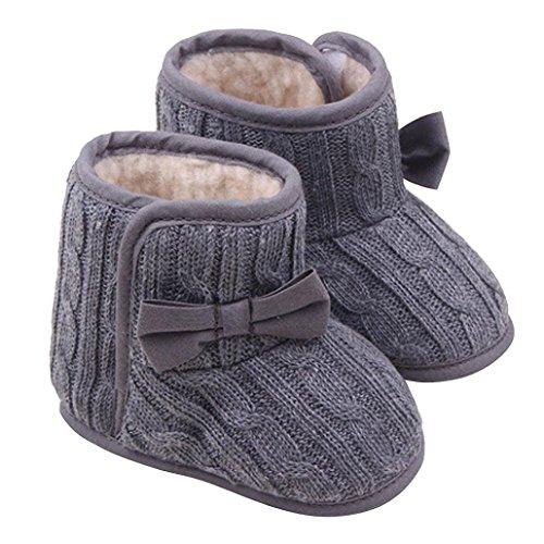 Auxma Bebé niña Bowknot Soft Sole Zapatos Invierno cálido Calzado Botas (11cm(3-6...