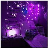 Luces de cadena de mariposa impermeable al aire libre, luces de cadena de hielo de decoración de Navidad, 216 LEDs Fondo de boda de fiesta luces de hadas (Color : Purple)
