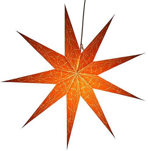 Casalanas Orange Sirius, Ø 80 cm Papierstern, Fensterschmuck, Weihnachtsstern aus Papier, 9 Zacken