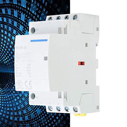 LONGWDS Relay Haushalt AC Schütz, geringer Stromverbrauch Home Use DIN Montageschiene AC Relais 4P 4NO 20A 24V-220V / 230V 50 / 60Hz (220V / 230V)