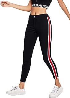 Women's Skinny Jeans Super Stretch Slim Fit Stripe Side Denim Leggings Pants
