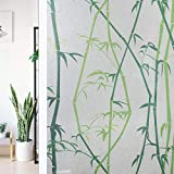 Dktie Static Cling Decorative Window Film Bamboo Vinyl Non Adhesive Privacy Film 35.4I by 78.7In, Stained Glass Window Film for Bathroom Shower Door