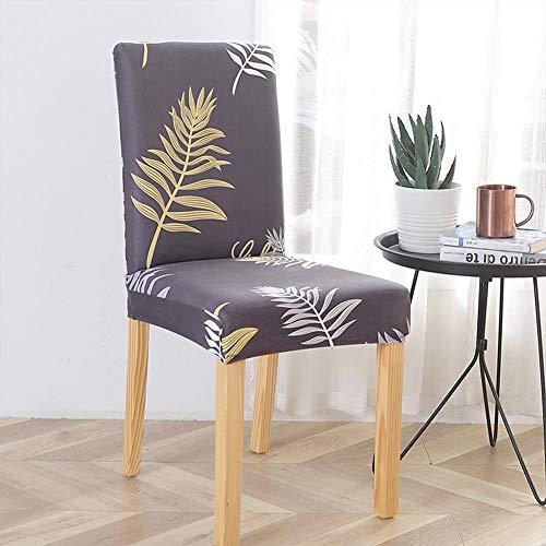 No se requiere planchado Funda de silla lavable estirable para el patrón de hojas de boda de hotel apto para la mayoría de las sillas
