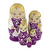 Azhna Juego de 5 matrioskas de 10,5 cm de recuerdo de matrioska, colección de decoración del hogar, muñeca ruso quemada y pintada a mano, muñeca de madera (morada)