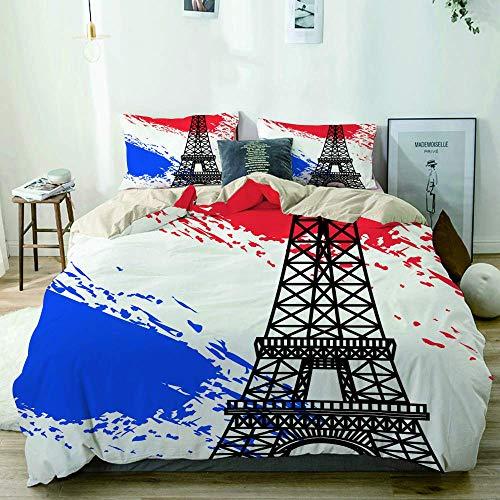 Funda nórdica Beige, decoración de la Bandera de Francia de la Torre Eiffel, Juego de Cama de Microfibra Impresa de Calidad de 3 Piezas, diseño Moderno con suavidad y Comodidad