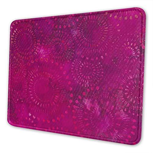 Alfombrilla de ratón con borde cosido, rosa intenso, morada, bohemia, Batik, con textura premium, alfombrilla de ratón antideslizante con base de goma para ordenador portátil, ordenador, oficina