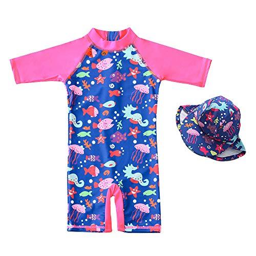 7-Mi Baby Mädchen Badeanzug EIN stück -Kleidung UV-Schutz 50+ Kinder Schwimmanzug Badeanzug MIT Einem Reißverschluss mit Sonnenhut(92-98CM)