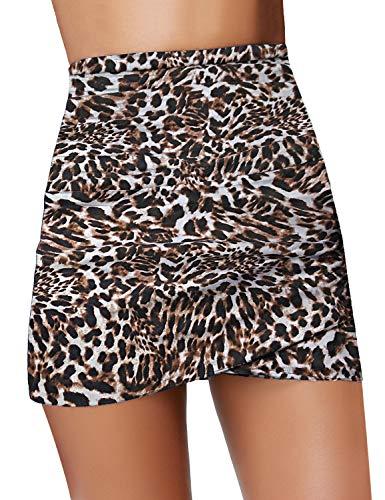 GRAPENT Women's Leopard Print Ruched High Waist Tulip Hem Shirring Swim Skirt Swimsuit Bikini Bottom Size XL