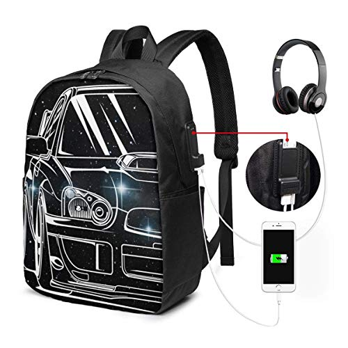 Lawenp Subie Outline JDM Tuner Subie WRX Sti Laptop Backpack 17 Inch College School Backpack with USB Charging Port Casual Daypack for Travel