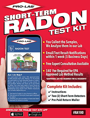 ProLab Radon Test Kit for Home - 48-96 hour Short Term Charcoal Radon Gas Test Kit. Includes Two (2) EPA Approved Detectors for Accurate Testing. $40 lab fee required. Emailed results in 5 days. (RA100)