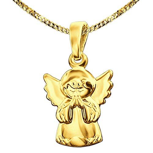 CLEVER SCHMUCK Set Goldener Anhänger Kleiner Kinder Schutz Engel betend 12 mm glänzend 333 Gold 8 Karat mit vergoldeter Kette Panzer 40 cm
