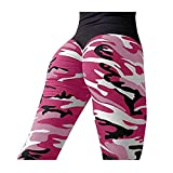 Clearance Sale! Charberry Womens Pleated Camouflage Yoga Pants Fashion Workout Leggings Fitness Sports Running Athletic Pants (US-10 /CN-XL, Hot Pink) from Charberry