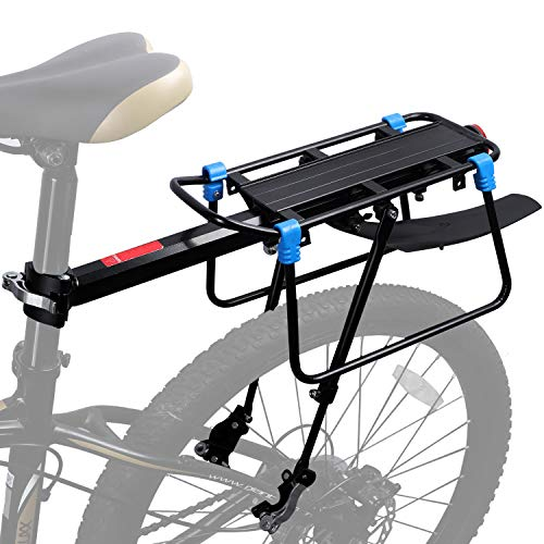 ICOCOPRO Bike Cargo Rack with Fender, 110 LB Capacity Universal Bicycle Touring Carrier, Quick Release Adjustable Bicycle Luggage Carrier Rack with Rear Reflector