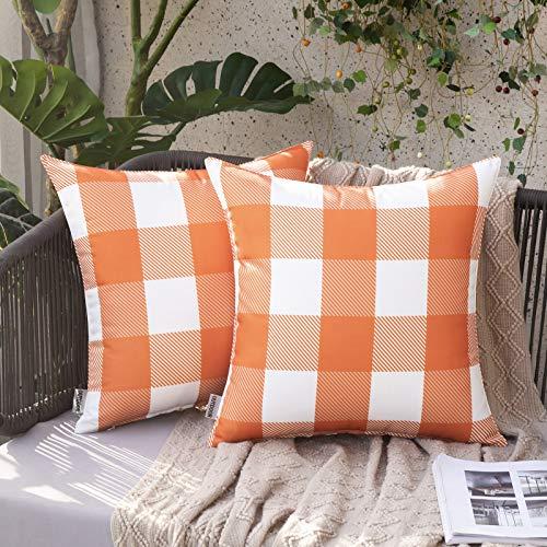 MIULEE 2 wasserdichte Kissenbezüge für den Außenbereich, Retro-Design, Karomuster, dekorative Kissenbezüge für Terrasse, Garten, 45,7 x 45,7 cm, Orange
