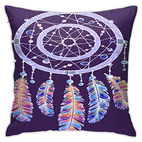 AOOEDM SXboxing Decorative Throw Pillow Covers 18x18 Inches,Christmas Square Throw Pillow Cases for Sofa Bedroom Car Pink Catcher Colorful Purple Dreamcatcher Feathers Violet Boho Chic