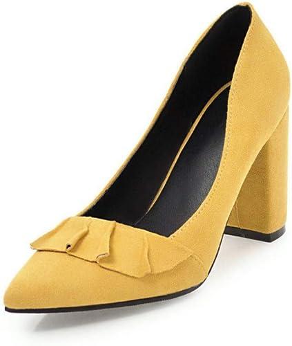 GGXDM GGXDM Chaussures à Talons Hauts en Daim à Volants Et Talons Hauts Jaune  trouvez votre favori ici