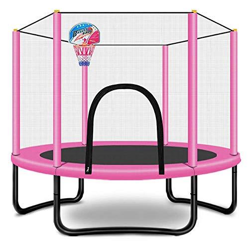 POETRY 60 inch trampoline voor kinderen voor volwassenen met beschermende netto stabiel en rustig dragen 300 kg met mand roze