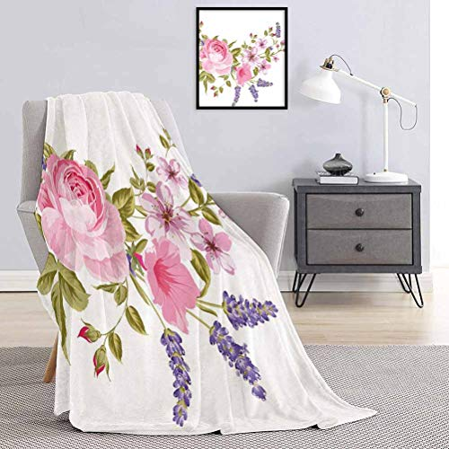Toopeek Lavender Commercial Grade Printed Blanket Bridal Style Garland of Rose Sakura and Lavender Vintage Artistic Bouquet Flora Queen King W91 x L60 Inch Multicolor