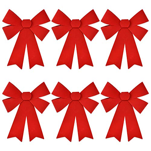 "6 Christmas Red Bows 11.5"" by 18"" Made of Velvet and PVC Plastic for Outdoor Large Wreath Bow Decoration Ribbon Kitchen Wreaths Decor Xmas Tree Holiday Decorations"