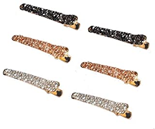 Rhinestone Hair Clips - 6 Pcs Metal Bobby Pin Crystal Hair Pin Duckbill Alligator Clip Pin Hair Accessories for Lady, Women, Girls