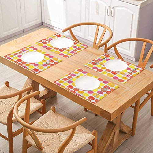 FloraGrantnan Stain Resistant Washable Kitchen Table mats, Fruits Retro Pine Lemon Kiwi Raspberry Pop Art M, for Party Kitchen Dining Decorations, Set of 8