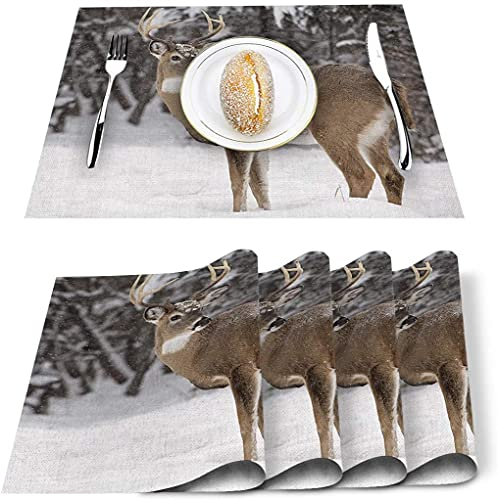 Lot de 4 Sets de Table, Hiver cerf élan Animaux Sauvages Neige PVC Tapis de Table résistant à la Chaleur napperon de Cuisine Lavable antidérapant pour Table à Manger Table de Banquet de Vacances déc