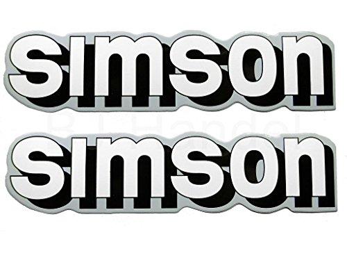 2X Aufkleber Schriftzug Simson weiß/Silber S51 Tank BJ-Handel