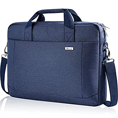 Voova Laptop Bag Case 14-15.6 Inch Computer Sleeve Messenger Bag with Shoulder Strap Expandable Waterproof Business Briefcase with Tablet Pocket for Men Women Travel School Lawyer-Blue