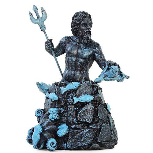 Poseidon Netuno Deus Dos Mares Tridente Golfinho Resina 23cm (Azul)