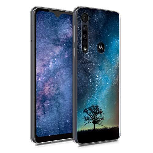 kwmobile Hülle kompatibel mit Motorola One Macro - Handyhülle - Handy Hülle Galaxie Baum Wiese Blau Grau Schwarz