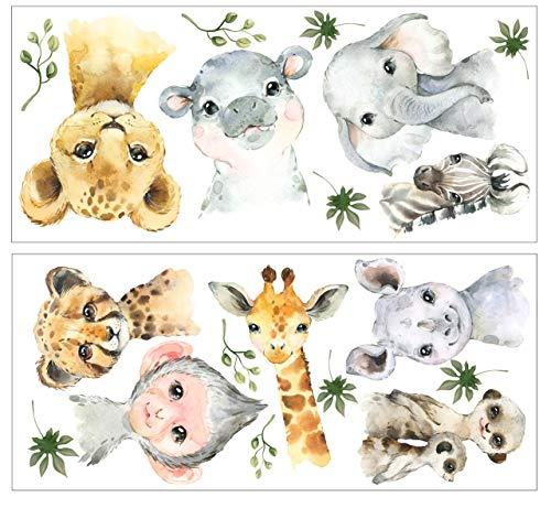 wolga-kreativ Wandtattoo Wandsticker Möbelsticker Aufkleber Wandbild Aquarell Tiere AFFE Löwe Elefant Giraffe Wanddeko Set Kinderzimmer Spielzimmer Babyzimmer Mädchen Junge-n Baby Zimmer