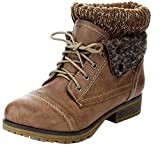 Refresh WYNNE-01 Women's combat style lace up ankle bootie, Taupe (10)