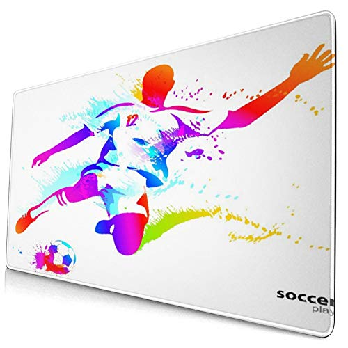 CANCAKA Large Gaming Mouse Pad,Teen Room Soccer Proffesional Player,Non-Slip Rubber Mouse Pads Mousepad for Gaming Computer Office Desk,75×40×0.3cm