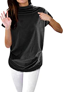 Women's high Collar Casual Short-Sleeved Cotton Solid Color Shirt T-Shirt Tops Large Size