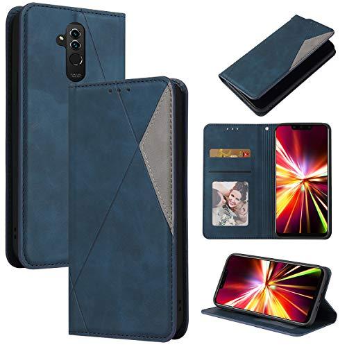 LODROC Huawei [Mate 20 Lite] Hülle, TPU Lederhülle Magnetische Schutzhülle [Kartenfach] [Standfunktion], Stoßfeste Tasche Kompatibel für Huawei Mate 20Lite - LOYKB0500281 Blau