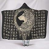 coperta Con Cappuccio con Stampa 3D, Lupo rune vichingo Strato Spesso Peluche Gettabile Coperta Indossabile Mantello con Cappuccio 50x40 inch