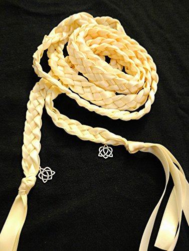 Ivory Handfasting Cord Ceremony Braid- Celtic Heart Knot-6 ft- 4 Ribbon- Handfasting Cords- Braided Together