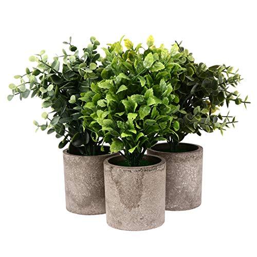 IMIKEYA 3 Piezas Planta de Arbusto Artificial en Maceta Plantas Falsas de Plástico Falso Boj Matorrales Bonsai Decoración de Escritorio para Decoración Interior de La Oficina en Casa