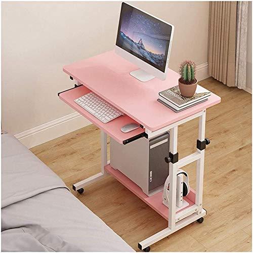 Mesa ajustable estable de escritorio de ordenador con teclado deslizante, mesa de ordenador portátil, estación de trabajo para el hogar (color: negro)-rosa