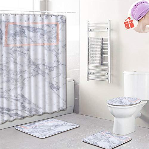 Enhome Badteppich Set 4teilig, 3D Marmor Drucken Badvorleger Bad Fußmatten Badezimmermatten Set mit Duschvorhang, Badematte, WC-Deckelbezug & rutschfeste Sockelteppich (Rosa Rechteck,Groß)
