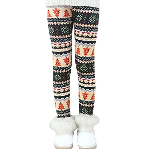 Rysly Girls Winter Thick Warm Long Pants Printing Fleece Lined Leggings 120 Christmas Tree