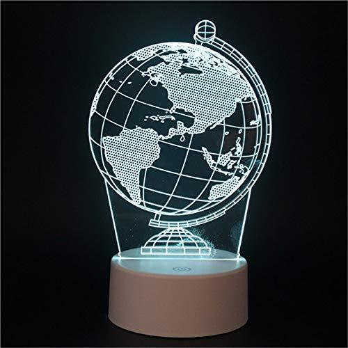 Globo terrestre Tierra Mapa del mundo global USB Power 3D Acrílico LED Luz nocturna Niño Estudiante Dormitorio Mesita de noche Oficina Lámpara de mesa Regalo para niños Decoración para el hogar
