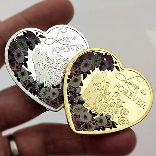 Herzform, Liebe, Geschenk, Ring, Sammlung, Gedenkmünze, Partner, Liebe, Romantik, Wunsch, Ehemann, 2 St.